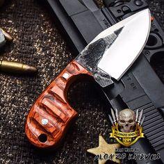 ALONZO KNIVES USA CUSTOM HANDMADE TACTICAL SKINNER 1095 KNIFE PAKKA WOOD 3112 #AlonzoKnives