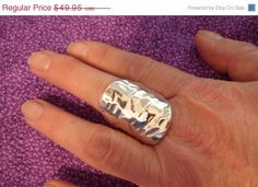"""ON SALE Hand Hammered Signed Sterling Silver Ring From Israel - Gorgeous and Large - Sparkling Elegance - Size 8.5 - 1 1/2"""" Front - 1/2"""" Ba. $37.46, via Etsy."""