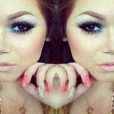 Makeup and nails<3 love those eyelashes