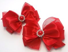 Red Satin Piggy Hair Bows Pigtail Hair by JustinesBoutiqueBows