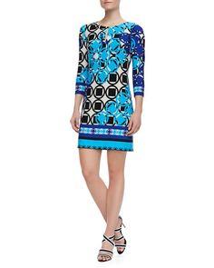 3/4-Sleeve+Geo+Print+Jersey+Dress,+Carolina+Multicolor+by+Ali+Ro+at+Neiman+Marcus.