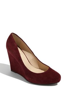 maroon suede wedge