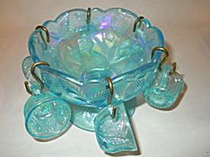Blue Carnival Glass Child's Punch Bowl Set. Click on the image for more information.