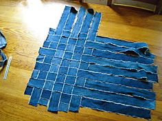 Woven Tote Bag using Jean Strips!!!  Visual Instructions!    Sac en récup. de jeans - Avec 10 doigts