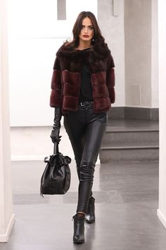 Brown & Burgundy Dyed Mink Fur Jacket