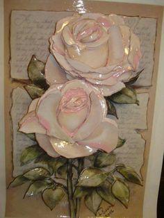 Vintage Diy, Vintage Floral, Clay Flowers, Ceramic Clay, Bottle Crafts, Paper Mache, Decoupage, Mixed Media, Floral Wreath