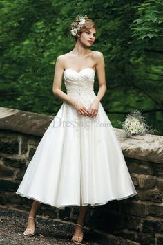 Tea-length Princess Wedding Dress with Luxuriant Appliques - so what do you think...long or short for a late afternoon wedding?