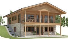 Sloping lot house plan, four bedrooms, living room on the second floor. Cabin House Plans, Basement House Plans, Mountain House Plans, Tiny House Cabin, Best House Plans, Modern House Plans, Small House Plans, House Floor Plans, Stone House Plans