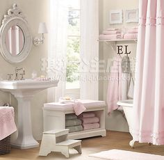 I love this bathroom. So chic and feminine. So glad I have a pink shabby chic home. Girls Bathroom, Gray Shower Curtains, Shabby Chic Bathroom, Girl Bathrooms, Girl Bathroom Decor, Ruffle Shower Curtains, Pink Bathroom, Bathroom Decor, Bathroom Inspiration