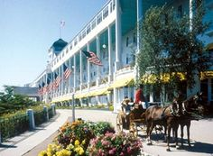 Mackinac Island in Michigan's Upper Peninsula.  The movie 'Somewhere In Time' was filmed here.  Very lovely.