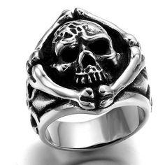 Stainless Steel Bones And Skull Ring (Sizes: 7-14)