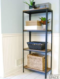 Wood and Metal IKEA Hack Industrial Shelf   Remodelaholic   Bloglovin'