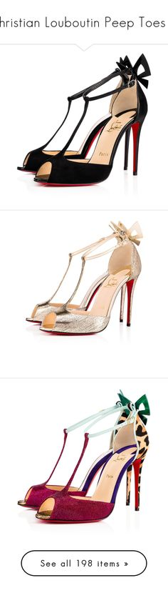 """""""Christian Louboutin Peep Toes III"""" by sakuragirl ❤ liked on Polyvore featuring shoes, sandals, heels, christian louboutin, louboutin, christian louboutin sandals, summer sandals, black bow sandals, black patent sandals and black sandals"""