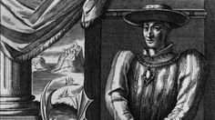 """King James II of Scotland, born 10/16/1430, known as """"Fiery Face"""" for the vermillion  birthmark on his face(on his left cheek, as shown in the etching)"""