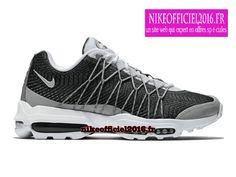 Nike Air Max 95 Ultra Jacquard Blanc/Gris loup/Gris foncé 749771-100 - Chaussure Nike Running Pas Cher Pour Homme - un site web qui expert en offres spéciales!