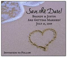 Beach Ocean Wedding Save the Date Postcard | Names, Posts and Shopping