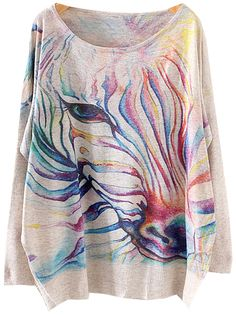 OMG this print is amazing!!! Love all the different colors put toghether ...   Grey Batwing Long Sleeve Zebra Print Knit Sweater 26.33