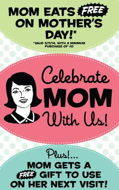 RUBY'S DINER $$ Mom's Eat FREE on Mother's Day (5/11 Only)!