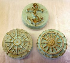 Nautical Drawer Pulls Doorknobs Knobs Anchor Ships Wheel Compass Rose Pale Sea Green Set of 3 OOAK