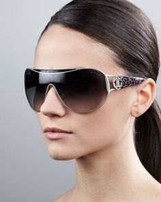 Metal-Framed Shield Sunglasses by Roberto Cavalli at Neiman Marcus.