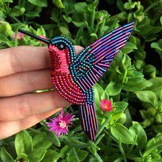 Beaded Hummingbird brooch Embroidered brooch Hummingbird pin