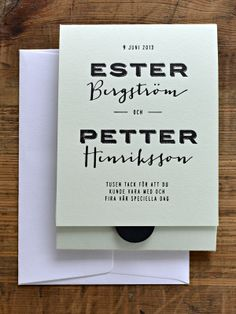 Letterpressed thank you card, by Pretty Paper, Sweden.