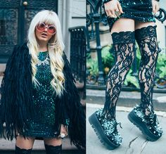 Wildfox Pink Barbie Sunnies, Nasty Gal Bird Jacket, Lace Thigh Highs, Tuk Footwear Studded Creepers, Motel Green Sparkle Dress