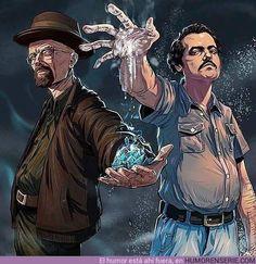 Walter White and Pablo Escobar Breaking Bad Narcos Breaking Bad Poster, Breaking Bad Arte, Affiche Breaking Bad, Heisenberg, Movies And Series, Tv Series, Narcos Escobar, Geeks, Breakin Bad