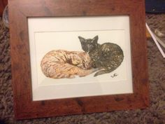Charlie and Lola my friends cats. Painted in gouache