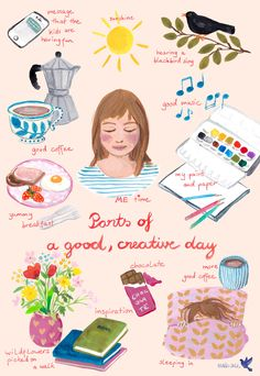 Parts of a good, creative day. Editorial illustration by Maria Over Self Care Bullet Journal, Positive Self Affirmations, Self Care Activities, Self Improvement Tips, Self Care Routine, Self Love Quotes, Cute Illustration, Take Care Of Yourself, Better Life