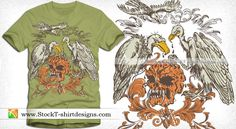 Vector Skull with Eagle and Floral Shirt Design | StockT-shirtDesigns