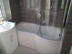 P SHAPED BATH WAS INSTALLED. P Shaped Bath, Beautiful Bathrooms, Small Bathrooms, Bathroom Installation, Bathroom Windows, Bathroom Furniture, Bathroom Designs, Bathroom Ideas, Interior Design Living Room