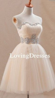 Champagne Swweheart Short Prom Dress Champagne by LovingDresses, $95.00