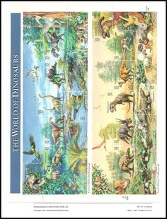 Sheet Includes: 3136a Ceratosaurus / 3136b Camptosaurus / 3136c Camarasaurus / 3136d Brachiosaurus / 3136e Goniopholis / 3136f Stegosaurus / 3136g Allosaurus / 3136h Opisthias / 3136i Edmontonia / 3136j Einiosaurus / 3136k Daspletosaurus / 3136l Paleosaniwa / 3136m Corythosaurus / 3136n Ornithomimus and 3136o Parasaurolophus.