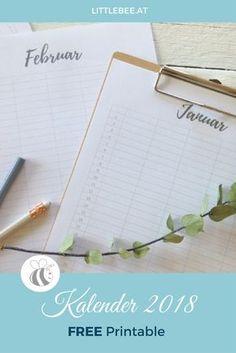 dein Kalender zum kostenlosen ausdrucken als Free Printable www.littlebee.at #freeprintable #kalender #diy