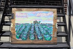 Lavender Field Painting made out of #reclaimedwood original painting signed. measures 2.5' x 3'