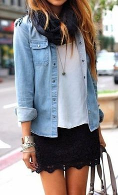 White blouse with sky blue denim shirt and black lace skirt and hand bag and scarf