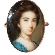 A rare portrait miniature ring by the leading 18th century miniature painter, John Smart [circa 1741 -1811]. Smart is renowned for his delicacy of execution and exquisite colouring and examples of his work are in museums across the world. This portrait is of Philadelphia Austen [1730 -1792], elder sister of the Reverend George Austen and aunt of Jane Austen, renowned author.