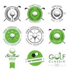 Set of golf club labels and emblems vector