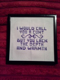 Feminist Cross Stitch 'I would call you a cunt, but you lack the depth and warmth' http://www.artfire.com/ext/shop/studio/TheTeaShop