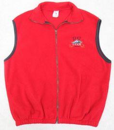 Utah Fleece Vest Jacket Coat Extra Large XL Red Solid Zip Up Mens Polyester Man #PolarUtah #vestjacketcoat