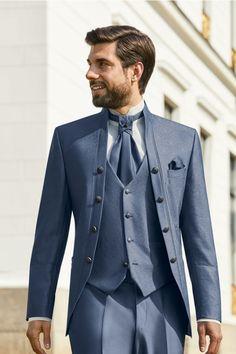 Dieser Hochzeitsanzug ist erhätllich bei Steinecker in Randegg, Graz, Salzburg und Wien. Cutaway, Modern Groom, Frack, Wedding Suits, Suit Jacket, Breast, Mens Fashion, Salzburg, Weeding