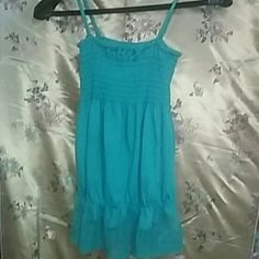 ***VERY Cute Top... Extremely cute gently used turquoise colored SAPA top.... Size L 85% polyester  10% Linen 5% Rayon Hand Wash  Hang Dry * There is 3 teenie tiny holes in the bottom lace (see picture #4)...  so small, it's NOT noticeable... SAPA Tops Tank Tops