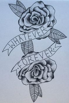 """Modern Baseball """"Whatever Forever"""" Lyric and Dotwork Rose Design Printed on 300gsm White Card"""
