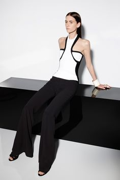 Balmain | Resort 2015 | 04 Monochrome halter top and black wide trousers