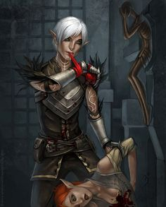 Dragon Age 2's Fenris looks a little too happy after dealing with his sister. ~Fenris by maruhana-bachi on devintART