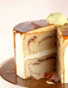 French Toast Layer Cake -- cinnamon cake, buttery maple frosting, and cinnamon maple ganache.  OMG! #desserts #recipe