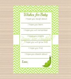 Peas in a Pod Baby Shower Digital Baby Wish Cards