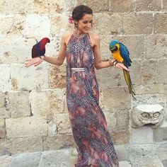 The printed pink rainbow snake backless gown by Matthew Williamson - worn by @rosannafalconer in Dubrovnik, Croatia #ohMW