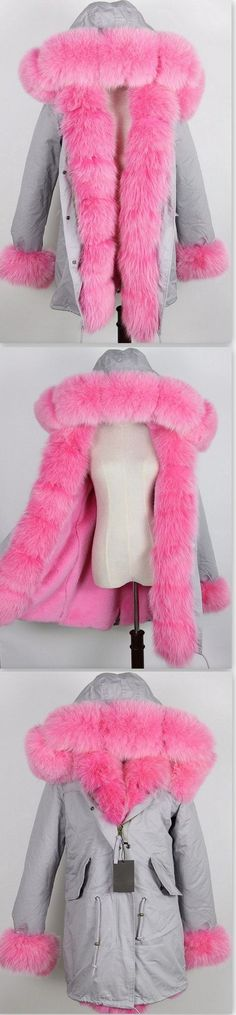 Army Parka Military Parka Coat with Fox Fur-Grey/Pink